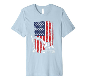 4th of July American Flag Construction Backhoe Excavator Premium T-Shirt