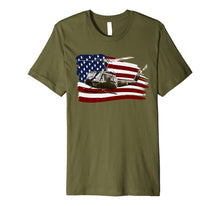 Load image into Gallery viewer, UH-1 Huey Helicopter T shirt American Flag usa Pilot T-Shirt