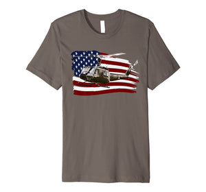 UH-1 Huey Helicopter T shirt American Flag usa Pilot T-Shirt