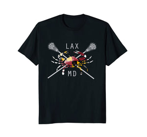 Boys Lacrosse Shirt Sticks Crossed Crab LAX Maryland Flag