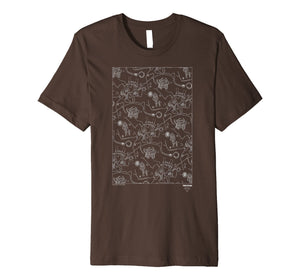 Twins Peaks Old Time Line Drawn Town Map Premium T-Shirt