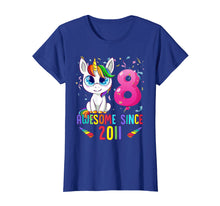 Load image into Gallery viewer, 8 Years Old 8th Birthday Unicorn Shirt Girl gift Gift