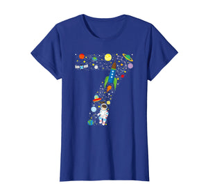 Outer Space Seventh Birthday GIRL Astronaut seven T-shirt