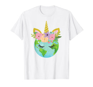 Floral Unicorn Earth - Earth Day T Shirt