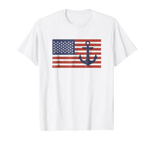 USA American Flag Nautical Blue Anchor Patriotic T-Shirt