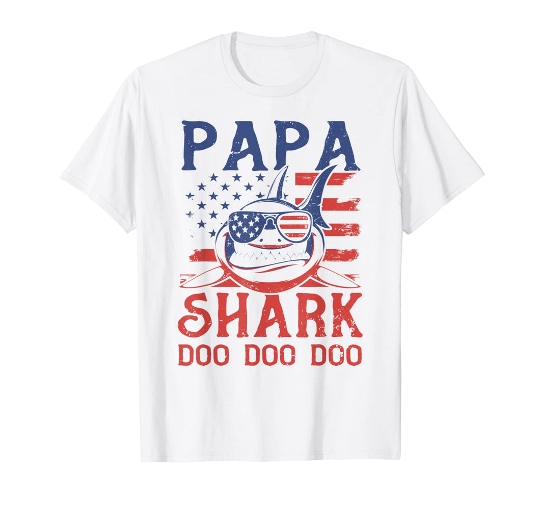 American Flag Papa Shark T shirt Doo Doo Doo 4th of July