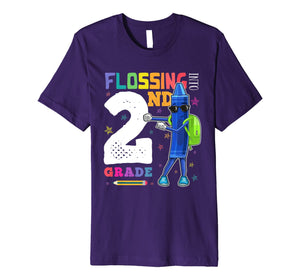 Funny Back to School 2nd Grade Flossing Crayon Shirt Kids