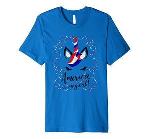 Kids T Shirt America is magical-Unicorn 4th of July Flag Day