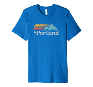 Portland, Oregon Vintage Mountain Sunset 80s Retro Tee