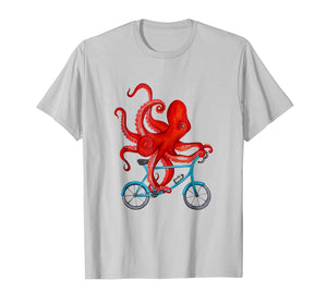 Octopus on bicycle Tee Shirt - Cycling octopus