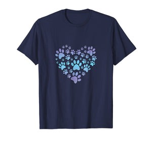 Paw Print Heartbeat T-Shirt Love Dogs