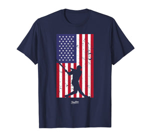 American Flag Baseball Love Distressed Baseball Player Shirt