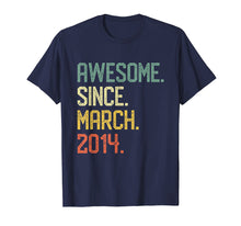 Load image into Gallery viewer, Born in March 2014 T-Shirt Vintage 5th Birthday Him Her