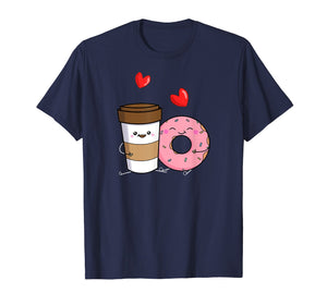 Coffee And Donuts Shirt Cute Kawaii T-Shirt Dark