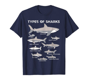 9 Types Of Sharks T-Shirt Educational Academic Ocean Tee