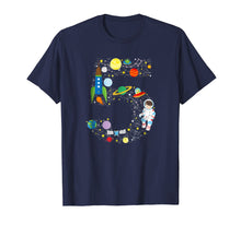 Load image into Gallery viewer, Outer Space Fifth Birthday Astronaut Number five T-shirt