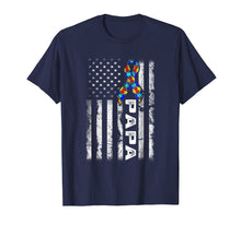 Load image into Gallery viewer, Papa Autism Awareness TShirt American Flag Gifts For Family