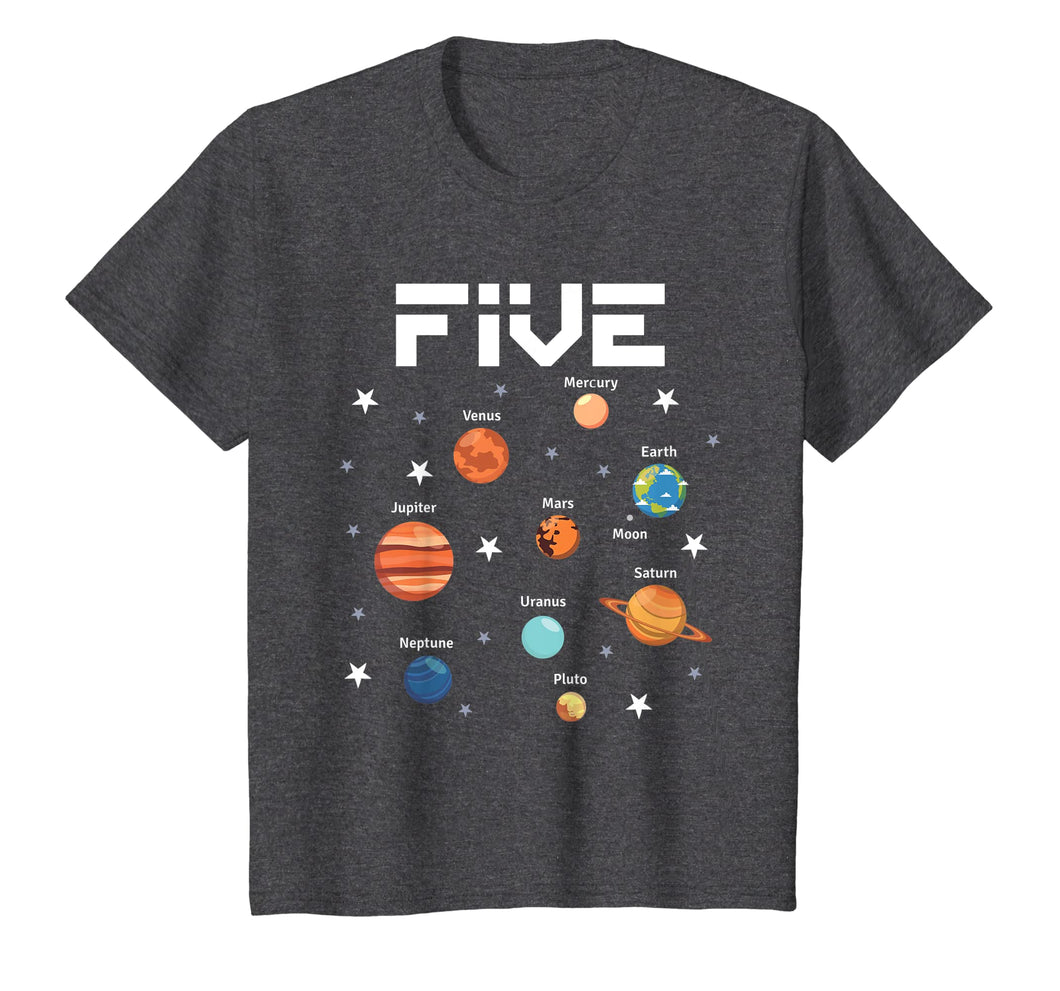 Kids 5 Year Old Outer Space Birthday Shirt Solar Planets 5th Gift