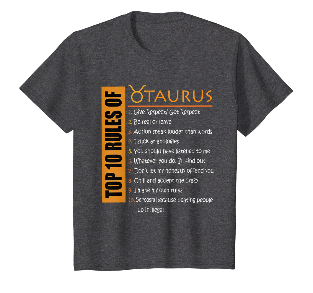 Birthday Gifts - Top 10 Rules Of Taurus Zodiac T-Shirt