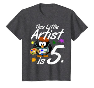 Kids 5 Year Old Painting Birthday Party Shirt Art Artist 5th Gift