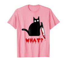 Load image into Gallery viewer, Cat What? Funny Murderous Black Cat With Knife Halloween T-Shirt