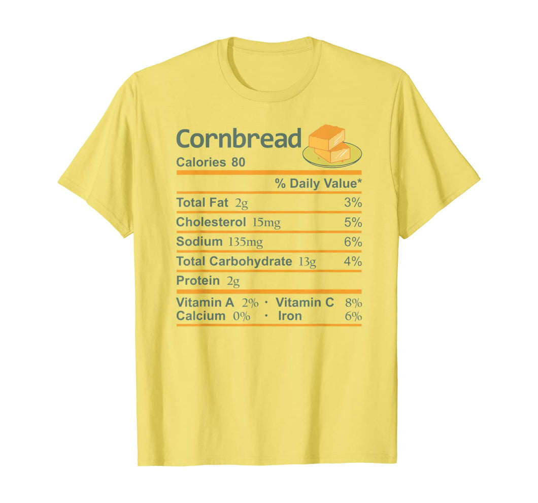 Cornbread Nutrition Facts Thanksgiving Costume Christmas T-Shirt