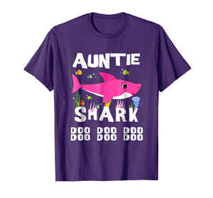 Auntie Shark T Shirt Mother Grandma Mother's Day Christmas