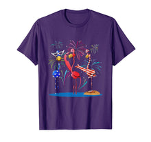 Load image into Gallery viewer, Flamingo American Flag Fireworks Shirt