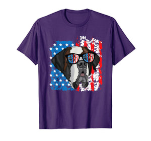 4th of July Dog Patriotic Saint Bernard Dog with Sunglasses T-Shirt