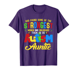 Autism Auntie Awareness T Shirt - The Strongest Autism Aunt