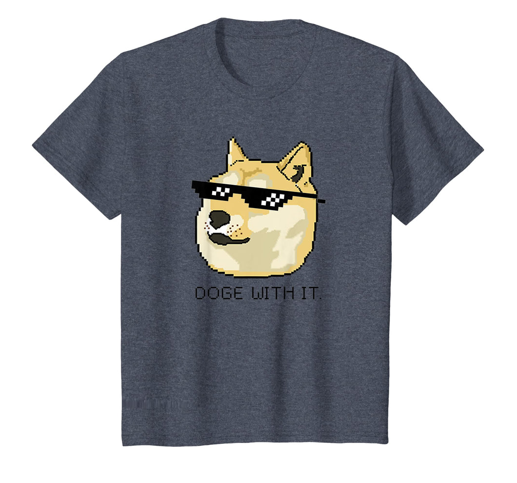 Shiba Inu T-Shirt Meme Doge Deal With It Pixel Glasses Tee