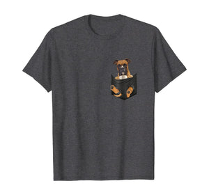 Boxer Inside Pocket Funny T-Shirt Lover Dog Cute Gift Tee