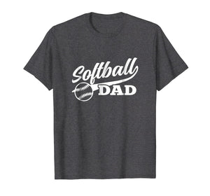 Softball Dad Shirt 1970s Retro Cursive Graphic (Dark)
