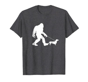 Bigfoot Walking Dachshund Shirt Funny Wiener Dog Gift