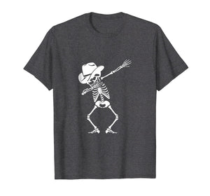 Dabbing Skeleton T-shirt Cowboy Hat Skull Shirt Dance Move