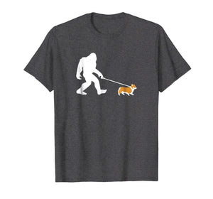 Bigfoot Walking Corgi Dog Shirt, Funny Cute Sasquatch Gift