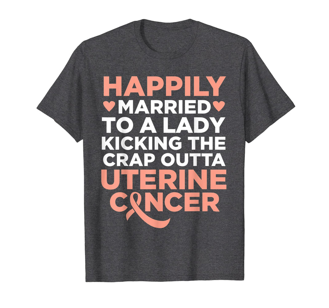 Mens Wife Fighting Uterine Cancer | Support T-Shirt for Husband