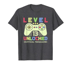 13th Birthday T Shirt - Level 13 Unlocked, Official Teenager
