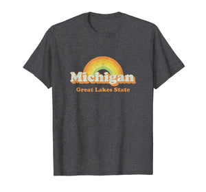 Retro Michigan T Shirt Vintage 70s Rainbow Tee Design