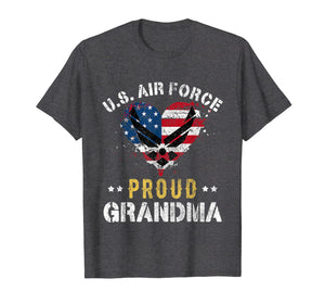 Proud Air Force Grandma T-Shirt American Flag Heart Veteran