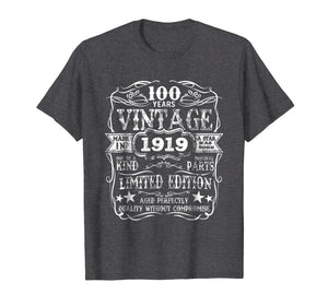 Made In 1919 100 Years Old Vintage 100th Birthday Gift Shirt