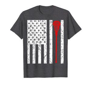 Lacrosse flag T Shirt American US sports fan mens gift tee