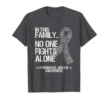 Load image into Gallery viewer, Parkinsons Awareness Shirt No One Fights Alone Silver Ribbon