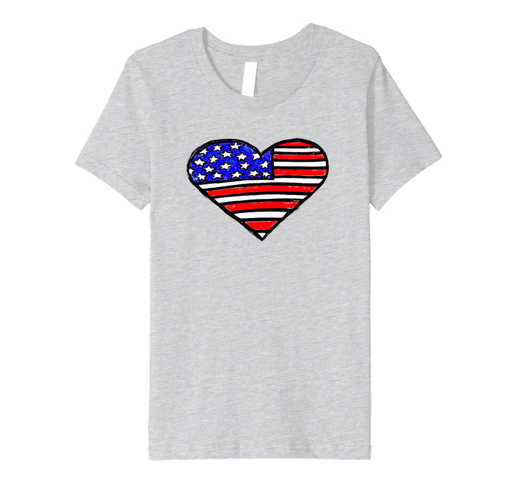 4th of July Shirt for Women. Heart Shaped USA Flag