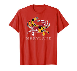 Maryland State Flag Classy Blue Crab Tee Shirt