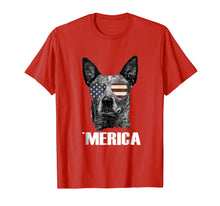 Load image into Gallery viewer, Merica Australian Cattle Dog Tshirt with USA flag sunglasses