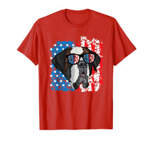 Load image into Gallery viewer, 4th of July Dog Patriotic Saint Bernard Dog with Sunglasses T-Shirt
