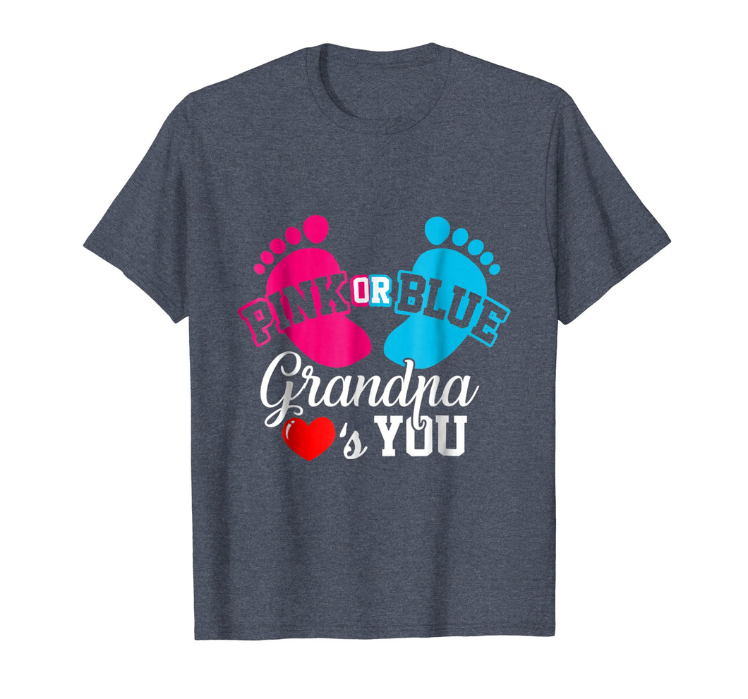 Baby Gender Reveal Pink or Blue Grandpa Loves You T Shirt