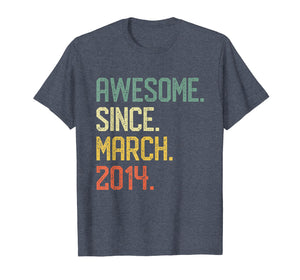 Born in March 2014 T-Shirt Vintage 5th Birthday Him Her