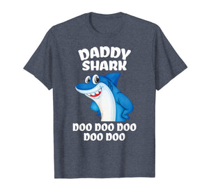 Daddy Shark Shirt Fathers Day Gift From Wife Son Daughter T-Shirt